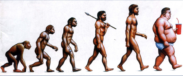 march of evolution from ape to MacDonalds
