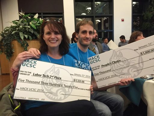 My kids, Aly and Sean, with their big winning checks at the UCSC Hackathon in 2016