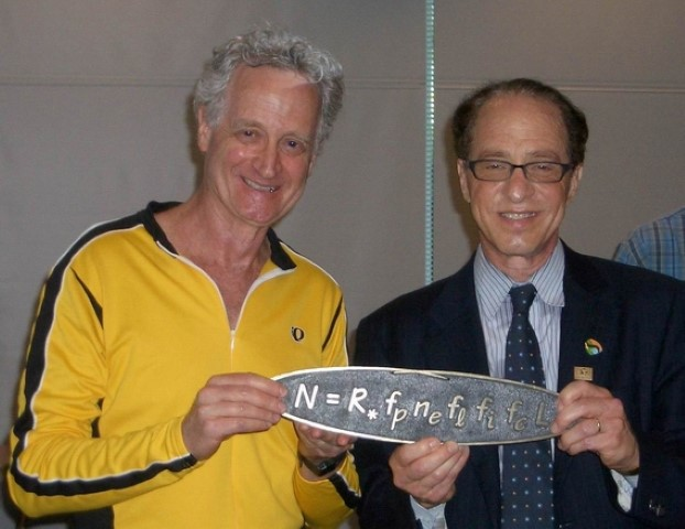 Bob Blum and Ray Kurzweil at SETI holding the Drake Equation
