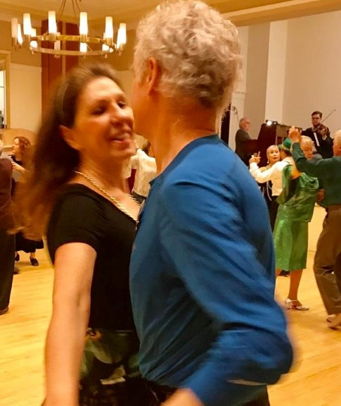 Maggie dancing with me in March, 2019
